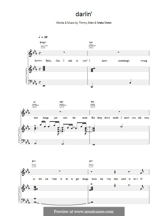Darlin' (Backstreet Boys): For voice and piano (or guitar) by Nneka Morton