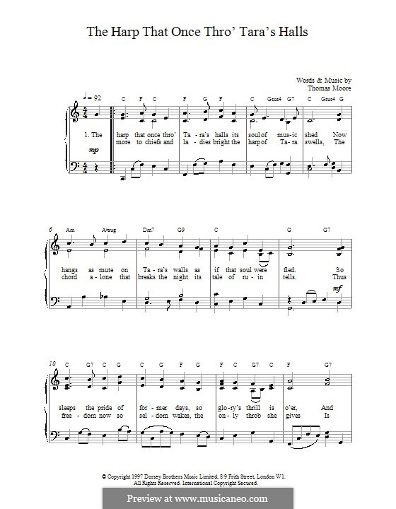 The Harp That Once Thro Tara's Halls: For voice and piano (or guitar) by Thomas Moore