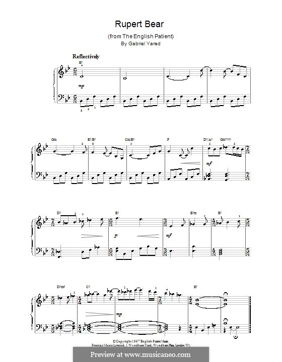 Rupert Bear (from The English Patient): For easy piano by Gabriel Yared