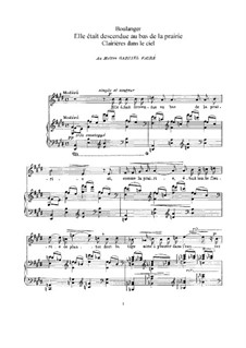 Clairières dans le ciel: Piano-vocal score by Lili Boulanger
