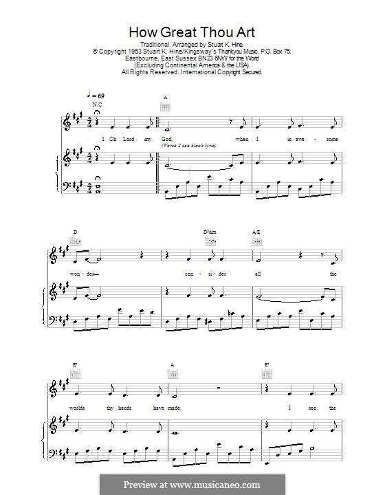 How Great Thou Art: For voice and piano (or guitar) by Stuart K. Hine