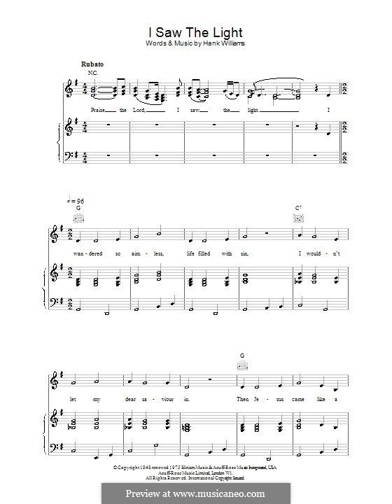 I Saw the Light by H. Williams - sheet music on MusicaNeo