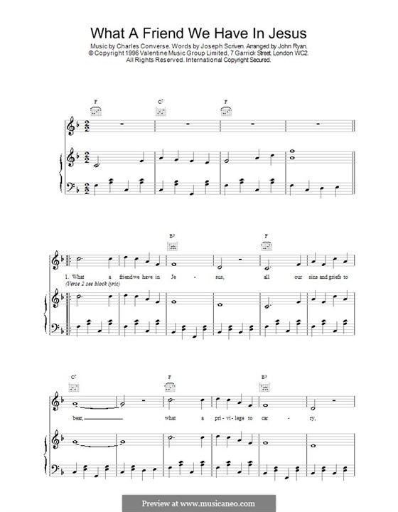 What a Friend We Have in Jesus (Printable): For voice and piano (or guitar) by Charles Crozat Converse