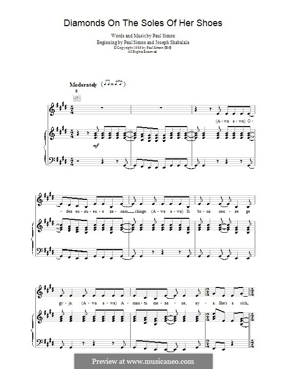 Diamonds on the Soles of Her Shoes by P. Simon - sheet music on ...