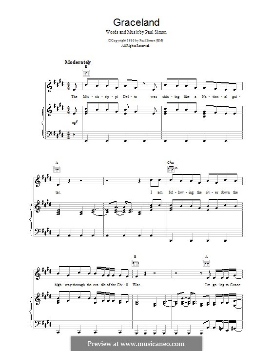 Graceland: For voice and piano (or guitar) by Paul Simon