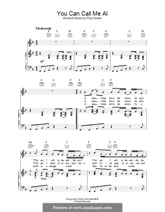 You Can Call Me Al For Voice And Piano Or Guitar By Paul: Call Me Al Sheet Music At Alzheimers-prions.com
