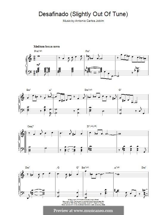 Desafinado (Slightly Out of Tune): For piano by Antonio Carlos Jobim
