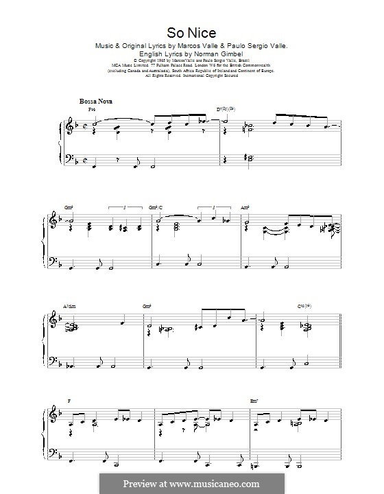 So Nice (Summer Samba): For piano by Marcos Valle, Paulo Sergio Valle