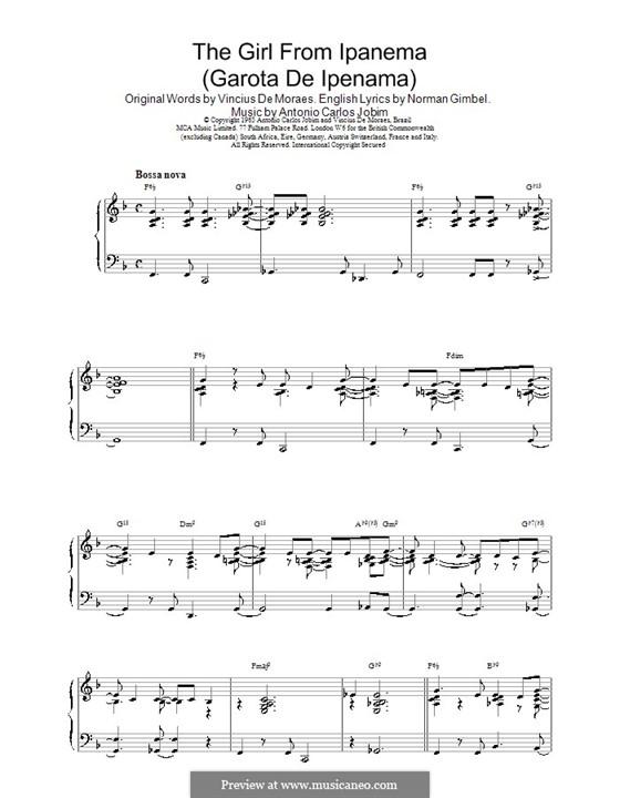 The Girl from Ipanema (Garota de Ipanema), for Piano by A.C. Jobim ...