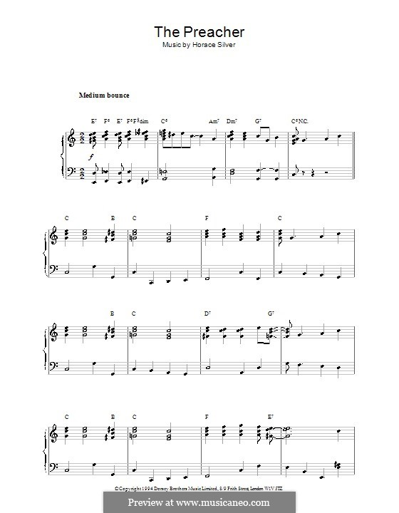 The Preacher: For piano by Hoagy Carmichael