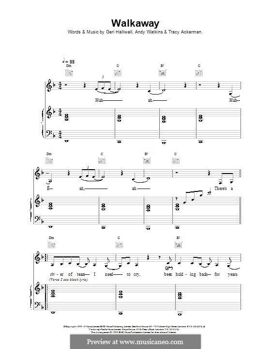 Walkaway: For voice and piano (or guitar) by Geri Halliwell