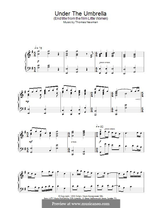 Under the Umbrella (End Title from Little Women): For piano by Thomas Newman