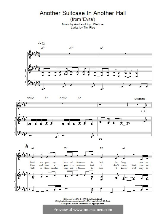 Another Suitcase in Another Hall: For voice and piano (or guitar) by Andrew Lloyd Webber