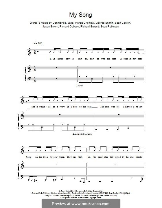 My Song (Five): For voice and piano (or guitar) by Denniz Pop, Herbie Crichlow