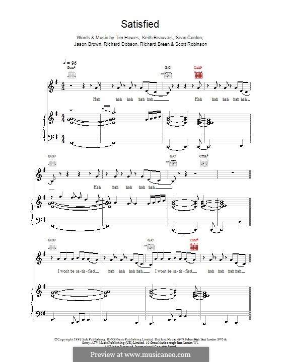 Satisfied (Five): For voice and piano (or guitar) by Keith Beauvais, Sean Conlon, Tim Hawes