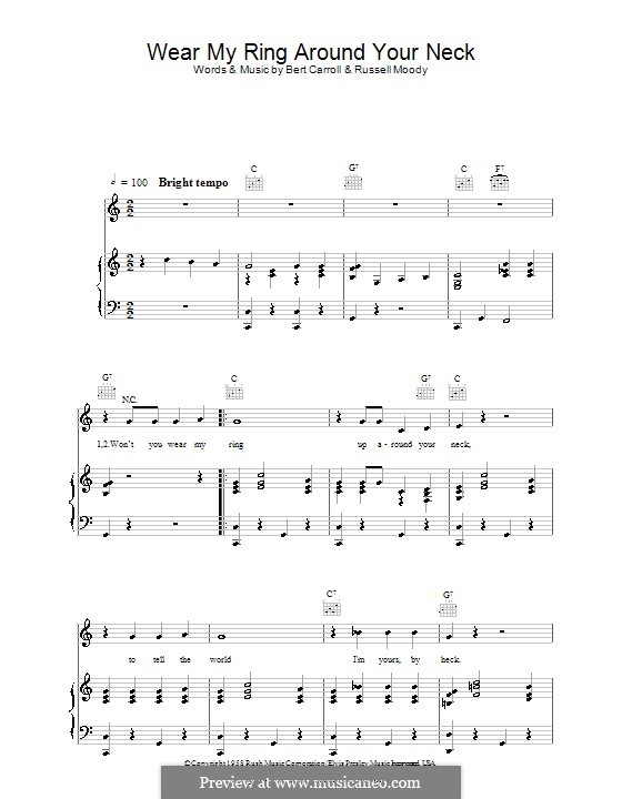 Wear My Ring Around Your Neck (Elvis Presley): For voice and piano (or guitar) by Bert Carroll, Russell Moody
