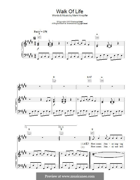 Walk of Life (Dire Straits): For voice and piano (or guitar) by Mark Knopfler