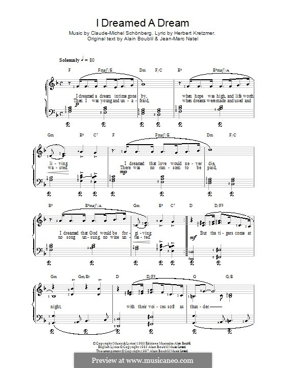 I Dreamed a Dream, for Piano: For a single performer by Claude-Michel Schönberg