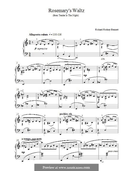 Rosemary's Waltz: For piano by Richard Rodney Bennett