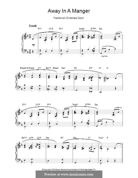 Away in a Manger: For piano (F Major) by folklore
