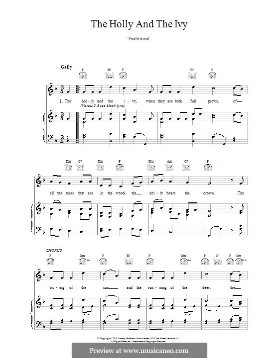 The Holly and the Ivy: For voice and piano or guitar (F Major) by folklore