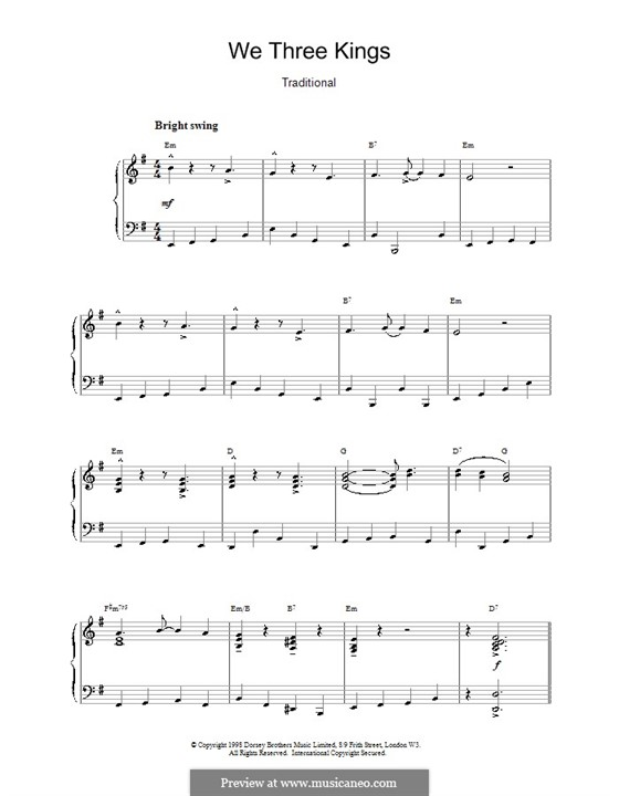 We Three Kings of Orient are, for Piano: Jazzy arrangement by John H. Hopkins Jr.