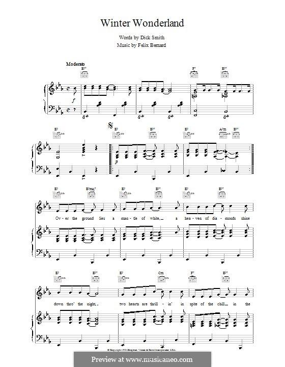 Winter Wonderland: For voice and piano or guitar (jazzy arrangement) by Felix Bernard
