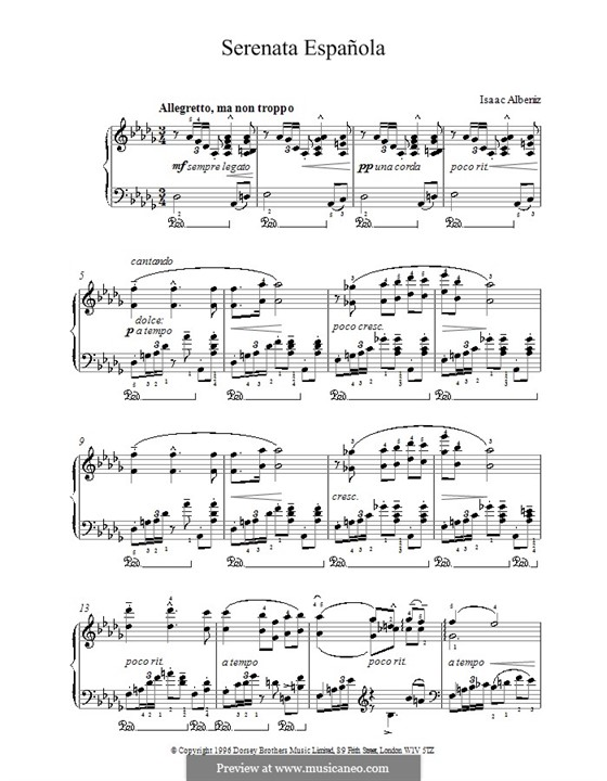 Spanish Serenade, Op.181: For piano by Isaac Albéniz