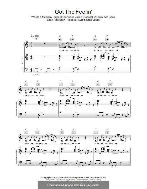 Got the Feelin (Five): For voice and piano (or guitar) by Abs Breen, Jason Brown, Julian Stannard, Richard Neville, Richard Stannard, Scott Robinson, Sean Conlon