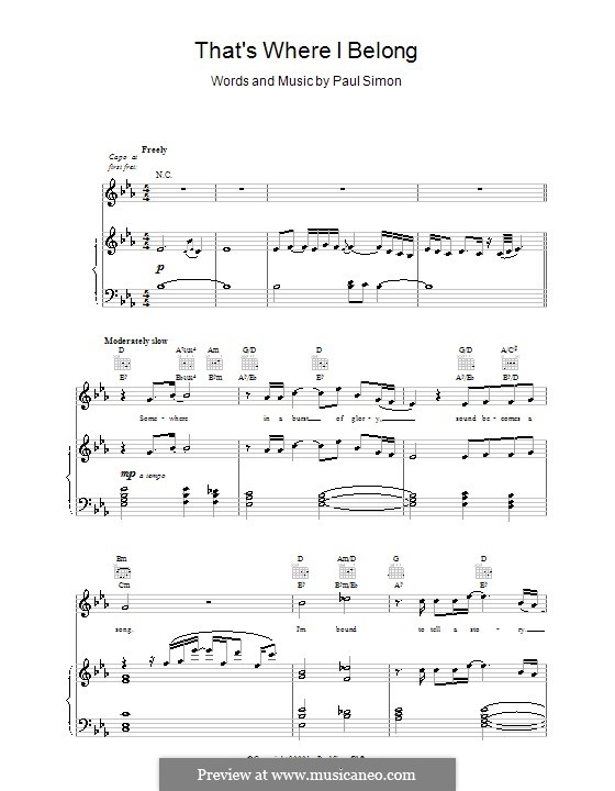 That's Where I Belong: For voice and piano (or guitar) by Paul Simon