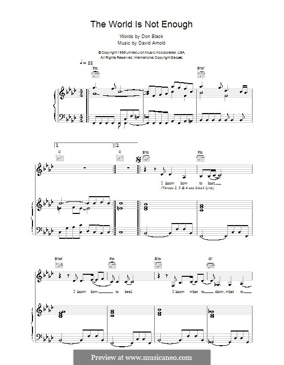 The World Is Not Enough (Garbage): For voice and piano (or guitar) by David Arnold