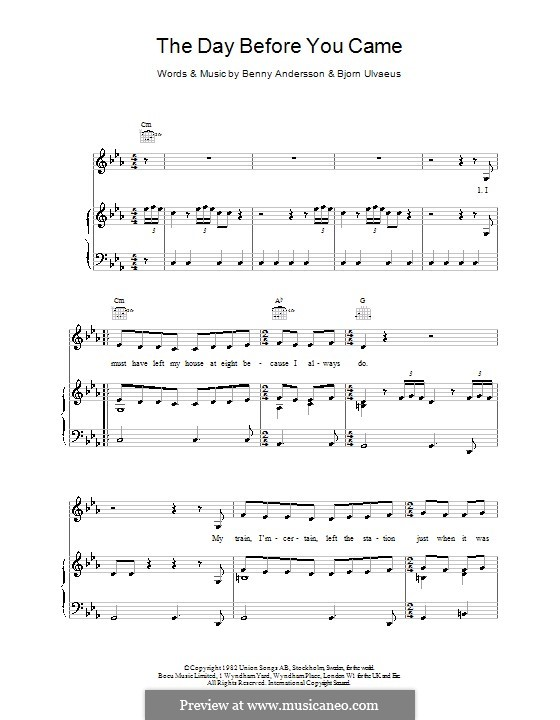 """Abba """"the day before you came"""" sheet music notes, chords."""