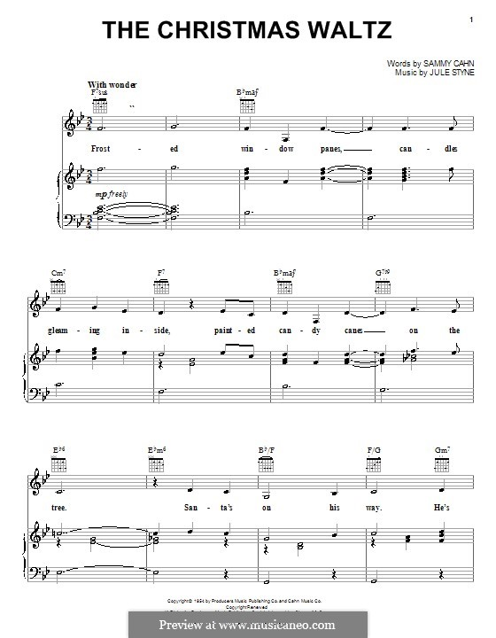 Christmas Waltz Chords.Melody Line