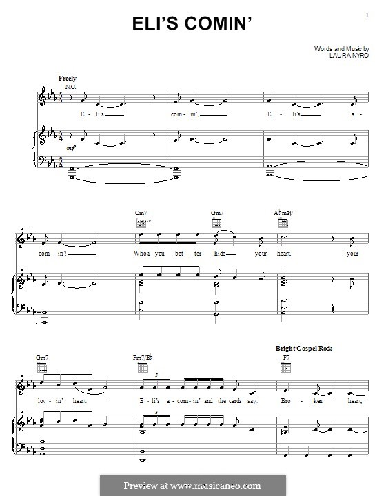 Eli's Comin' (Three Dog Night): For voice and piano (or guitar) by Laura Nyro