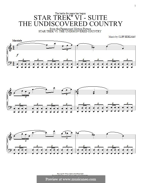 Theme from Star Trek VI: The Undiscovered Country: For piano by Cliff Eidelman