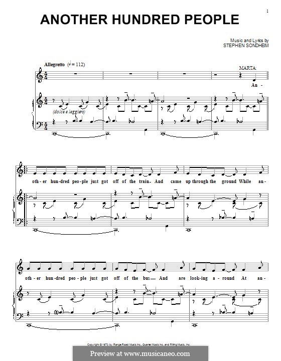 Another Hundred People: For voice and piano (or guitar) by Stephen Sondheim