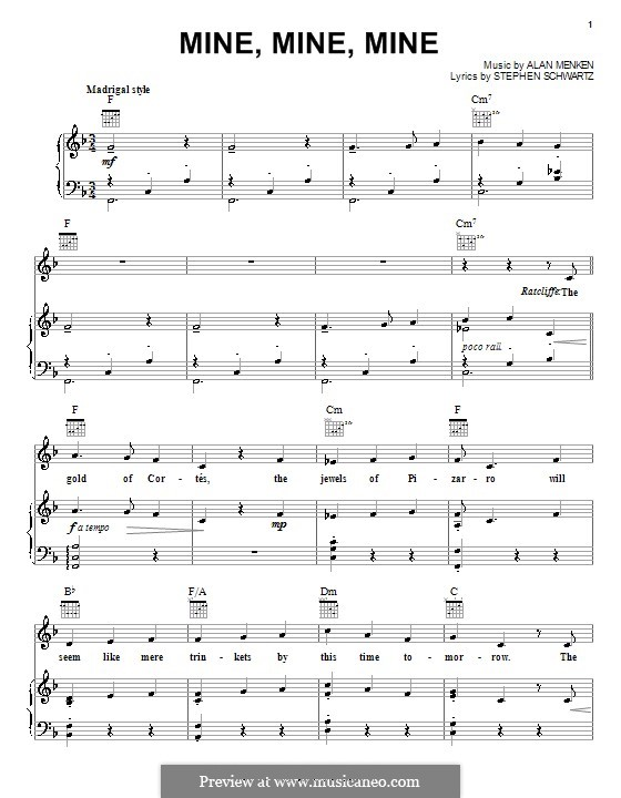 Mine, Mine, Mine (from Pocahontas): For voice and piano (or guitar) by Stephen Schwartz