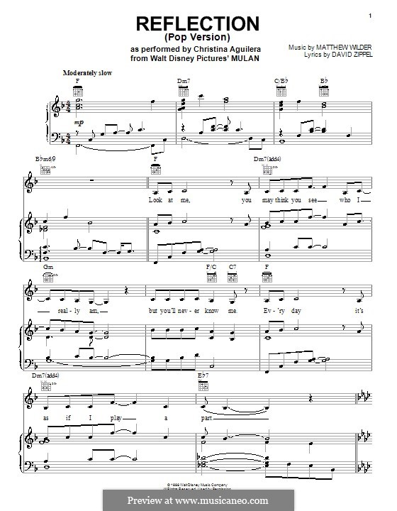 Reflection (from Disney\'s Mulan) by M. Wilder - sheet music on MusicaNeo