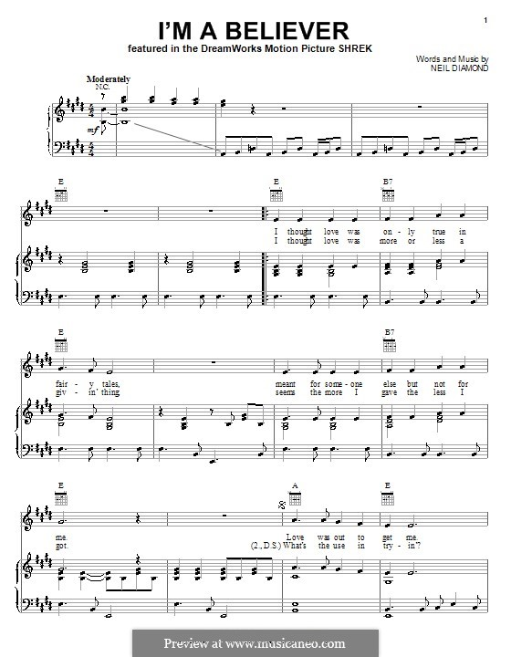 I'm a Believer: For voice and piano or guitar (E Major) by Neil Diamond