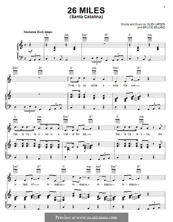 26 Miles (Santa Catalina): For voice and piano or guitar (The Four Preps) by Bruce Belland, Glen Larson