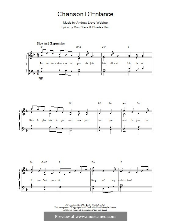 Chanson d'Enfance: For easy piano by Andrew Lloyd Webber