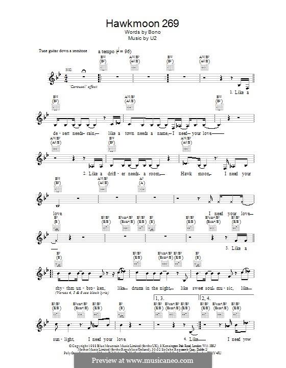 Hawkmoon 269: Melody line, lyrics and chords by U2