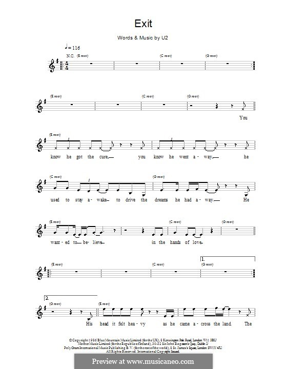 Exit By U2 Sheet Music On Musicaneo