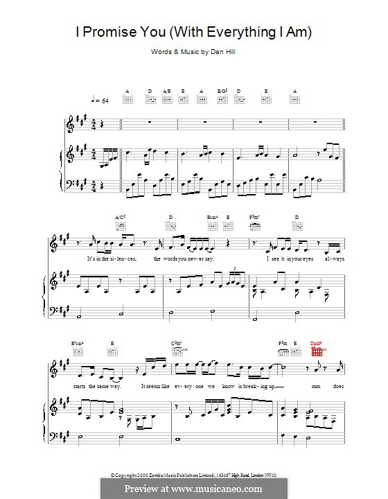 I Promise You (Backstreet Boys): For voice and piano (or guitar) by Dan Hill