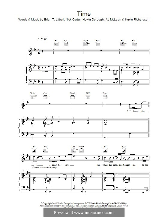 Time (Backstreet Boys): For voice and piano (or guitar) by Howard Dorough, Nick Carter