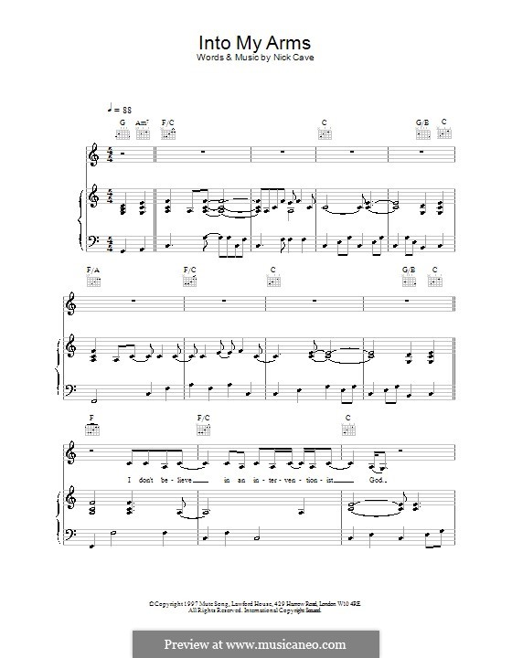 Into My Arms By N Cave Sheet Music On Musicaneo