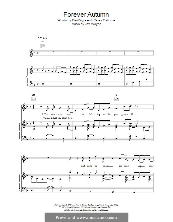 Forever Autumn (from War of the Worlds): For voice and piano (or guitar) by Jeff Wayne