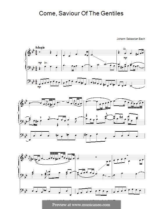 Come, Saviour of the Gentiles: Come, Saviour of the Gentiles by Johann Sebastian Bach
