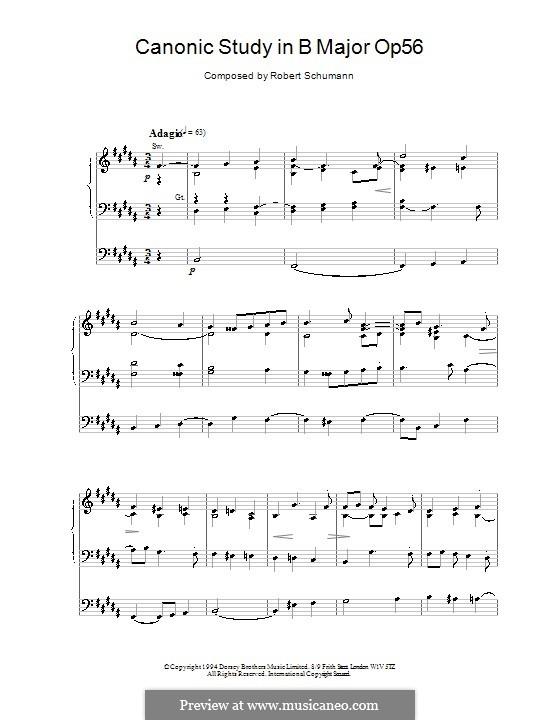 Studies in the Form of Canons, Op.56: No.6 in B Major by Robert Schumann
