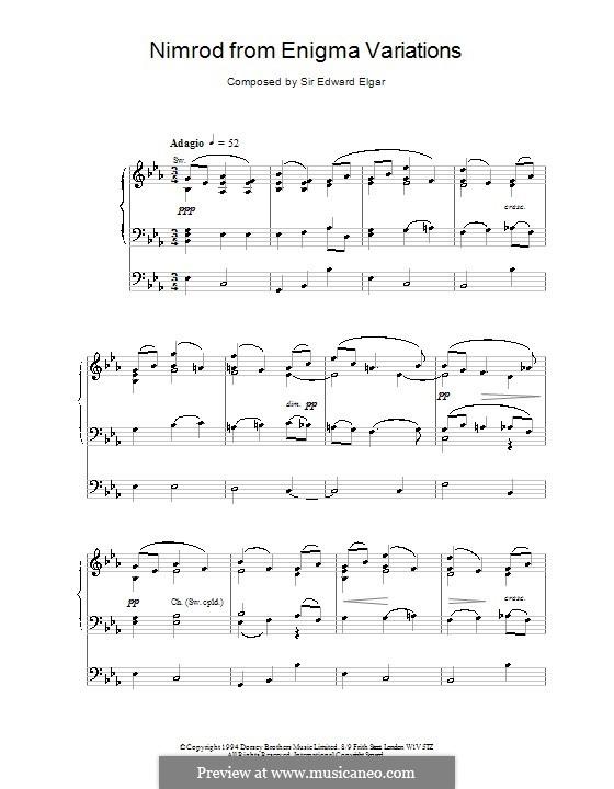 Variation No.9 'Nimrod': For organ by Edward Elgar
